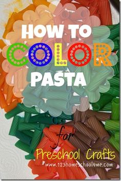 How To Color Pasta-Mix 1/4 cup rubbing alcohol and several drops of food coloring in a bag. Add pasta, seal, and place on cookie sheet (just in case the bag leaks!) You will need to let the pasta soak up the color – it is going to take about 24 hours with you turning it over several times during that process.