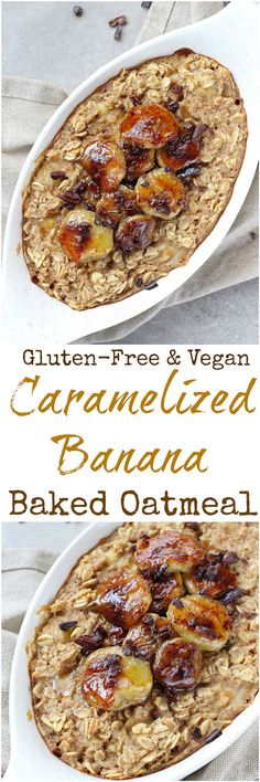 Caramelized Banana Baked Oatmeal - Bananas are caramelized in coconut oil and cinnamon for the ultimate topping in this Caramelized Banana Baked Oatmeal! With a subtle coffee hint, this oatmeal is gluten-free, dairy-free and vegan.