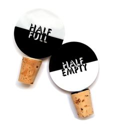 Laser cut wine bottle stopper set - Half Empty or Half Full