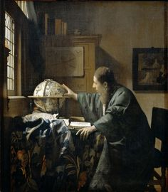Johannes Vermeer - The Astronomer [c.1668]  Portrayals of scientists were a favourite topic in 17th century Dutch painting and Vermeer's oeuvre includes both this astronomer and the slightly later The Geographer. Both are believed to portray the same man, possibly Antonie van Leeuwenhoek. The astronomer's profession is shown by the celestial globe and the book on the table....