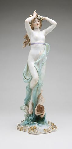 Lot# 1117 A Meissen porcelain figural group of a classical nude maiden with putto.  est: $700/1000 *Price Realized: $3,981.25