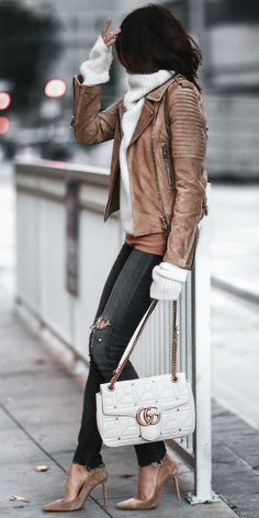 Erica Hoida + gorgeous suede jacket + skinny jeans + matching suede stilettos + perfect winter style + chunky turtleneck sweater + minimal accessories + Erica;s style!  Jacket: Burberry, Sweater: Haider Ackermann, Shirt: Bailey 44, Jeans: Citizens of Humanity, Shoes: Gianvito Rossi, Bag: Gucci.