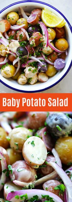 Baby Potatoes Salad – Easy potato salad with tiny and colorful peewee baby potatoes. Delicious side dish that you can make in 20 minutes | rasamalaysia.com