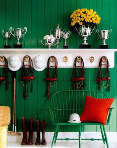 Green & Red Equestrian Style   Ralph Lauren Home   House & Home