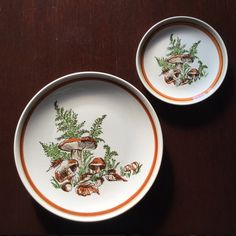Mushroom Plates  Serving for 4  Set of 8  by MyVintagePoint