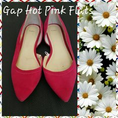 GAP pointy toe suede flats These are almost new hot pink suede gap flats. They were just tried on only not worn out. They have an open side, they are a soft suede material. They look red but are not. THESE ARE HOT PINK. Please ask any questions. Thank you for looking. GAP Shoes Flats & Loafers