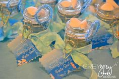 beach party favors: bubbles with shell glued on top