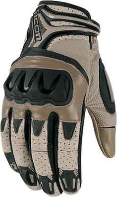 Icon Resistance Battlescar brown leather motorcycle riding gloves