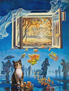 Autumn cat painting. I. Gugel - Parallel Flows of the Autumn