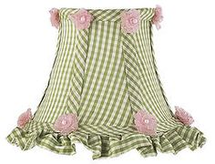Green Check with Tulle Flowers Clip-On Shade