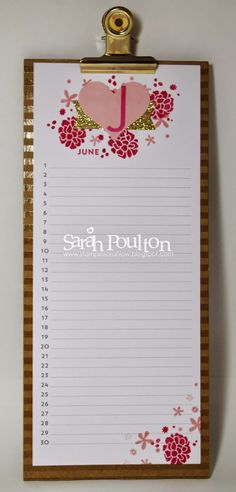 Sarah's Perpetual Birthday Calendar Project Kit Jan to June pages. All supplies from Stampin' Up!