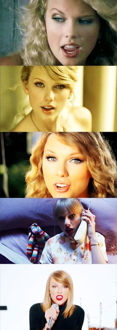 The lead singles from each album! Tim McGraw, Love Story, Mine, We Are Never Ever Getting Back Together and Shake It Off!!!