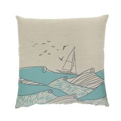 Add fun prints to your home with this Fishy Seas cushion from Orwell and Goode. Made from 100% linen, this cushion features a stunning hand printed design of calm seas with a sailboat & fish, on a ...