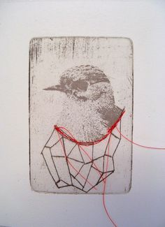 An original etching printed in an edition of made into a card. printed on creme Hannemuller etching print paper. Moleskine, Contemporary Embroidery, Art Textile, Thread Art, Gravure, Art Plastique, String Art, Fabric Art, Art Techniques
