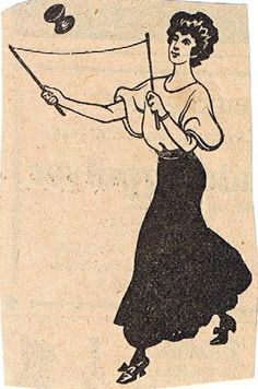 Old illustration - woman playing Diabolo