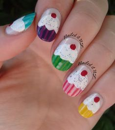 Nailed It NZ: Nail art for short nails #6: Cupcake Nails. Cute for little girls.