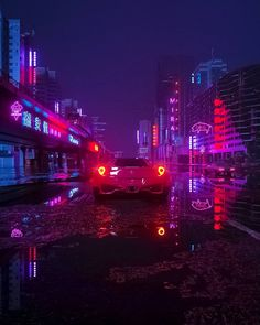 Running In The Night: The Superb Cyberpunk Artworks By Daniele Gasparini New Retro Wave, Retro Waves, Night Aesthetic, Neon Aesthetic, Neon Nights, Picture Credit, Night City, Retro Art, Vaporwave