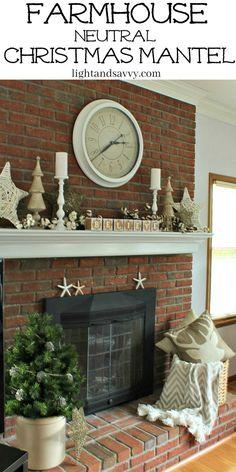 Farmhouse Neutral Christmas Mantel