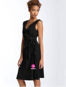 A-ligne Col en V Longueur genou Robe noire en Mousseline polyester avec Ruches(FR019834)
