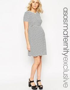 ASOS Maternity Skater Dress In Stripe With Short Sleeve
