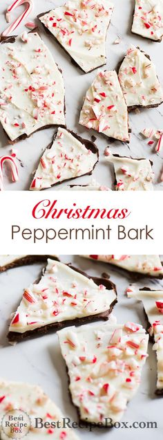 Chocolate Peppermint Bark Recipe that's Easy and Delicious | @bestrecipebox Holiday Desserts, Holiday Baking, Christmas Baking, Holiday Recipes, Christmas Recipes, Xmas Food, Christmas Bark, Christmas Treats, Christmas Cookies