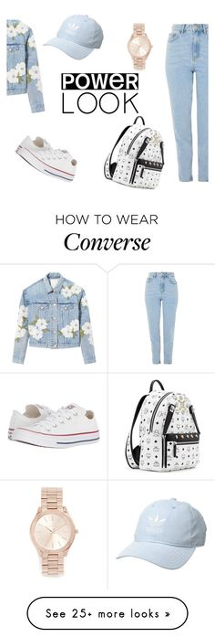 """Jeans blue outfit"" by katty6872 on Polyvore featuring Rebecca Taylor, Topshop, Converse, MCM, adidas Originals and Michael Kors"