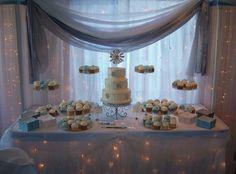 ice blue wedding | Ice Blue Dessert Table