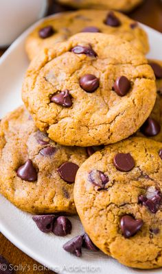 Chewy (not cakey) Pumpkin Chocolate Chip Cookies.