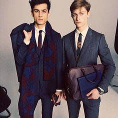 Vine print cashmere and leather accessories from the new #Burberry A/W14 men's collection