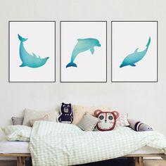 Dolphin Wall Art Blue Nursery Wall Art Set of 3 Prints | Etsy