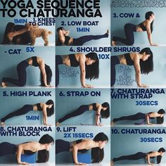 YOGA SEQUENCE TO CHATURANGA: Whether you can or cannot YET do a push up/tricep…