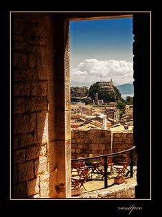 Watching de old fortress from interior of new fortress in Corfu, Kerkyra, Ionian Islands_ Greece Corfu Greece, Greek Islands, Grand Canyon, Countries, Europe, Magic, Doors, Explore, Eyes