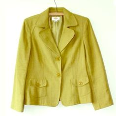 Talbots Petites Sz 8P Sage Green Blazer Jacket EUC Talbots Petites Sz 8P Sage Green 2 Buttons Pocket Lined Casual Blazer Jacket.  Talbots Petite Size: 8P 60% Viscose, 36% Cotton, 4% Other Fiber, Lining: 100% Polyester Bracelet Length Sleeve Chest/Bust: 38 inches Total Length: 23 inches Sleeve Length: 22 Inches Talbots Jackets & Coats Blazers