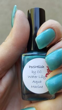 Unique Pastel Water Lily Aqua Marine Nail Polish Full Size 15ml Bottle by PoSHlish on Etsy