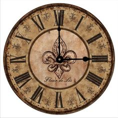 Antique Tuscany Vintage Fleur de Lis Wall Clock.