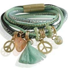 Armband in diverse kleuren mint met hangers en lederen accenten bedrukken