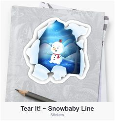 Shop Tear It! ~ Snowbaby Line designed by We~Ivy. Art Prints For Home, Presents For Friends, My Themes, Website Themes, Line Sticker, Clean Design, Art Boards, Ivy, Snowman