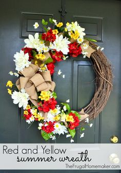 Red and yellow summer wreath with burlap bow Wreath Crafts, Diy Wreath, Grapevine Wreath, Burlap Wreath, Wreath Ideas, Front Door Decor, Wreaths For Front Door, Mesh Wreaths, Arte Floral