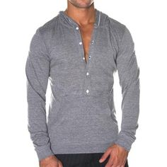 Henley Hoodie by Andrew Christian in Vintage Heather