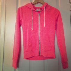 H&M neon pink zip up hoodie Great condition. Worn once. H&M Tops Sweatshirts & Hoodies