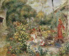 Pierre-Auguste Renoir - Mädchen in einem Garten in Montmartre