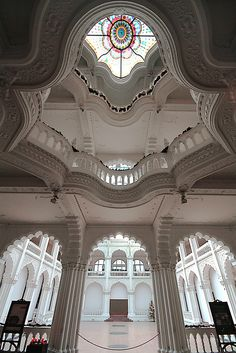 This is the entrance hall of the Museum of Applied Arts in Budapest, Hungary