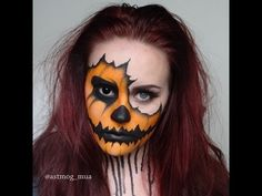Looking for for inspiration for your Halloween make-up? Browse around this site for creepy Halloween makeup looks. Half Face Halloween Makeup, Half Face Makeup, Scarecrow Makeup, Halloween Looks, Halloween Kids, Halloween Pumpkins, Diy Halloween Face Paint, Zombie Face Makeup, Halloween Contacts