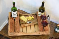 Reclaimed Wood Wine Serving Tray This serving tray was hand crafted and built from wood chosen for its story and quality. Specifically made for wine, this recla