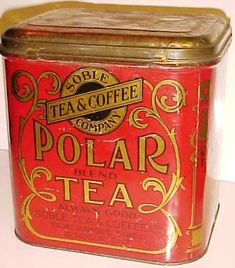 "love this front of tea box. vintage typography and lovely floral-ish border.  Soble Tea and coffee Company  ""Polar Tea"""