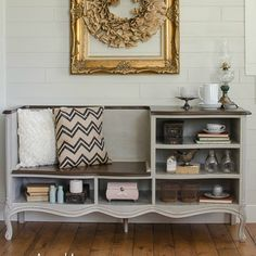 Dresser makeover without drawers is turned into a bench with shelves - by Start at Home