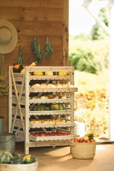 These racks are designed for storing root vegetables in a root cellar or shed. But we could see these in the kitchen for all-purpose storage as well; picture platters, tools, and canned goods on these! They are relatively inexpensive, too, with 3-drawer to 9-drawer models available...