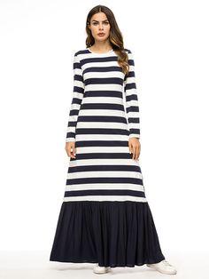 26880e276a4 Striped Patchwork Crew Neck Muslim Dresses