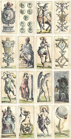 Tarocchini di Bologna by Guiseppe Maria Mitelli, hand-coloured etchings, 1664. Facsimile edition by Graffica Gutenberg, 1978. Tarot Cards from the collection of Rod Starling.