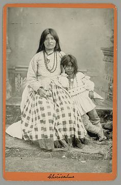 Portrait of Taz-Ayz-Slath, Geronimo's Wife, and Child; Both in Native Dress 1881 Creator: Baker and Johnston